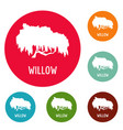 willow tree icons circle set vector image