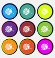 Yarn ball icon sign Nine multi colored round vector image vector image