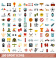 100 sport icons set flat style vector image