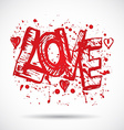 Grunge background with bright red heart Love Paint vector image
