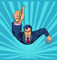 a businessman with smartphone like thumbs up vector image