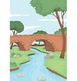 A red bridge in nature vector | Price: 1 Credit (USD $1)