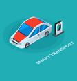 autonomous car vehicle standing near charger vector image