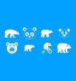 bear icon blue set vector image