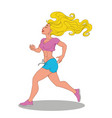 beautiful sexy athletic blonde running over white vector image