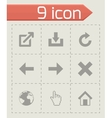 black web icons set vector image