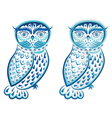 Blue Ornamental Owl2 vector image vector image