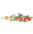 border with tropical jungle plants and flowers vector image