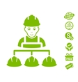 Builder Management Icon With Free Bonus vector image vector image