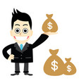 businessman holding money bags vector image vector image