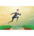 businessman jump through the gap obstacles between vector image