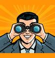 businessman looking through binoculars pop art vector image
