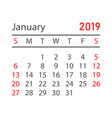 calendar january 2019 year in simple style vector image vector image