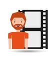 cartoon man icon film strip cinema graphic vector image vector image