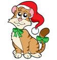 christmas cartoon cat vector image