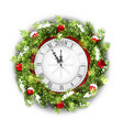 christmas wreath with clock new year decoration vector image vector image