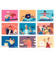 collection of young men and women demonstrating vector image