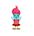 cute girl troll with pink hair and blue skin vector image