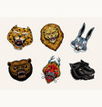 fashion patches tattoo artwork bear dragon lion vector image vector image