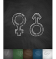 female male icon Hand drawn vector image vector image