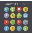 Flat icons for ecology energy and nature vector image vector image