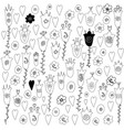 flowers hearts and leaves doodle monochrome vector image
