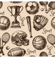 Hand drawn sketch sport seamless pattern with vector image
