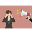Hand hold megaphone screaming to business woman vector image vector image