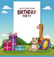 happy birthday card with toys and gifts vector image