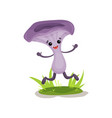 happy mushroom character with human face having vector image vector image