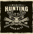 hunting club light emblem on dark backdrop vector image vector image