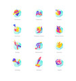 icon set school lessons subjects gradient flat vector image
