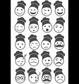 icons set 20 chef black and white vector image vector image