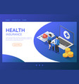 isometric web banner family standing with vector image