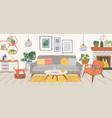 living room interior modern home indoor furniture vector image vector image