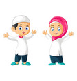 muslim couple boy and girl cartoon isolated vector image vector image