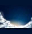night sky with stars clouds background vector image vector image