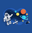 paper cut space cartoon cosmonaut in open space vector image vector image
