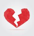 Red broken polygonal heart vector image