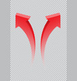 red twin arrow 3d curve direction gradient vector image