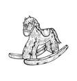 rocking horse toy sketch engraving vector image vector image