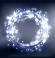 round frame with glowing sparks and snowflakes on vector image vector image