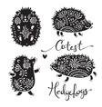 Set of cutest hedgehogs with flowers vector image vector image