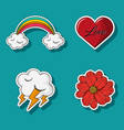 set of love and weather cartoons vector image