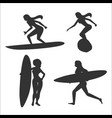 set of with woman surfers vector image vector image