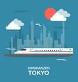 shinkanzen sky train in tokyo design vector image