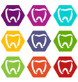 stomatology icons set 9 vector image vector image