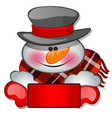 the snowmans head in tophat sketch for greeting vector image