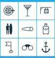 travel icons set with around globe street clock vector image vector image