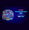 usa independence day neon banner design vector image vector image